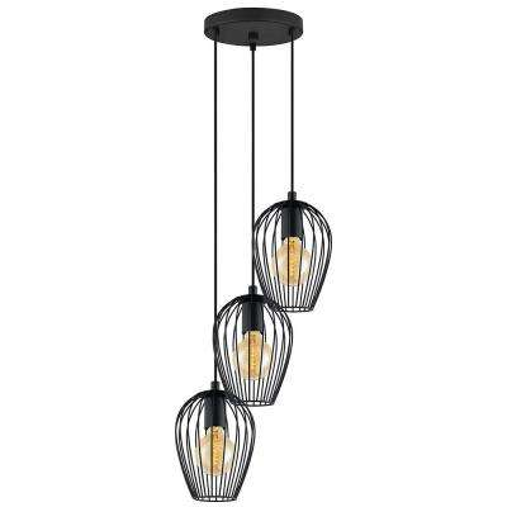 Newtown 3-Light Black Multi Pendant