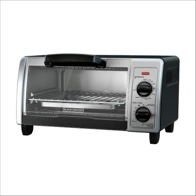 1150 W 4-Slice Black Stainless Steel Toaster Oven with Temperature Control