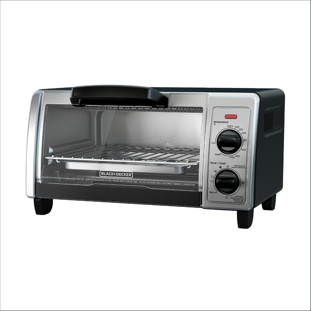 4-Slice Black Toaster Oven (2-Knob)