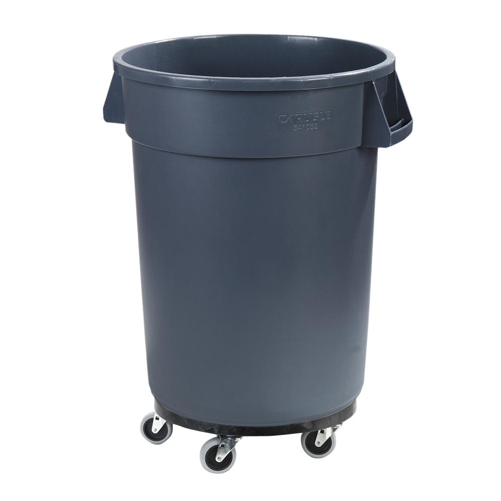 Carlisle Bronco 44 Gal. Gray Round Trash Can with Dolly (3-Pack)