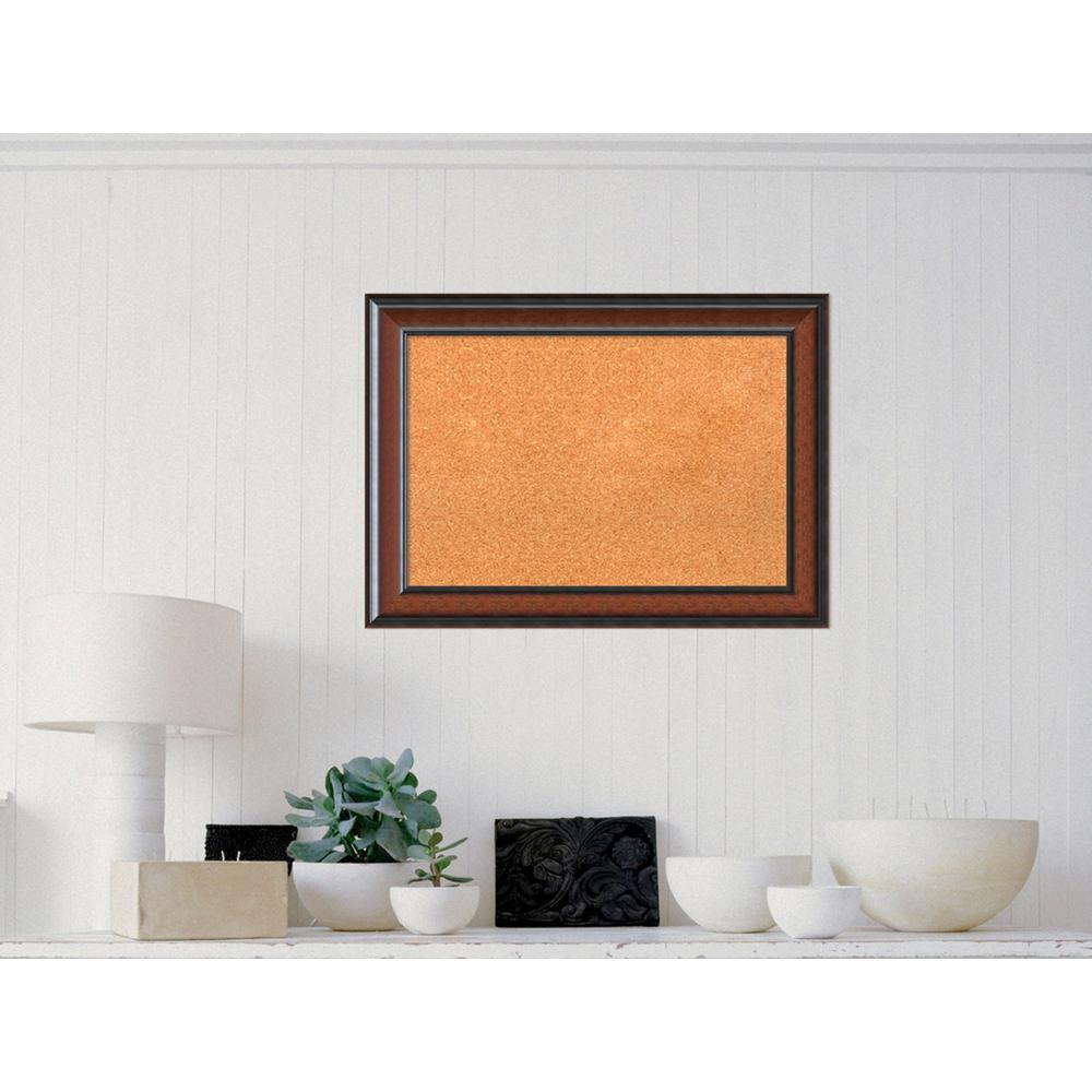 Amanti Art Cyprus Walnut Wood 29 in. W x 21 in. H Framed Cork Board ...