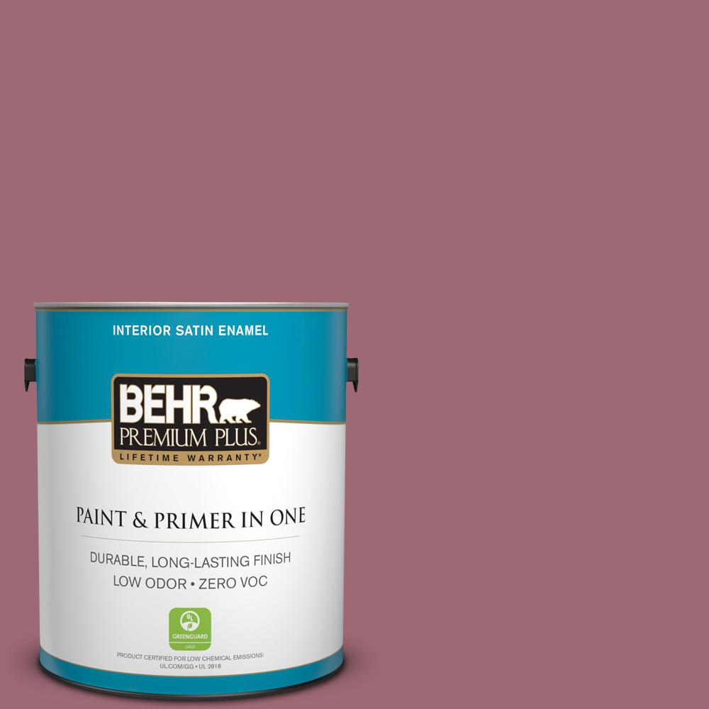 BEHR Premium Plus 1-gal. #100D-5 Berries and Cream Zero VOC Satin Enamel Interior Paint
