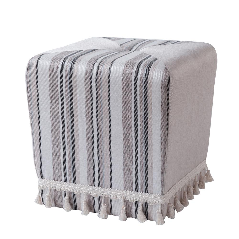 Colleen Light Brown Beige and Gray Accent Ottoman