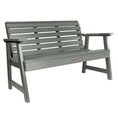 Weatherly 60 in. 2-Person Coastal Teak Recycled Plastic Outdoor Garden Bench