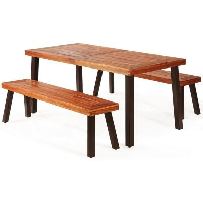 3-Piece Rectangle Wood Picnic Table with Extension
