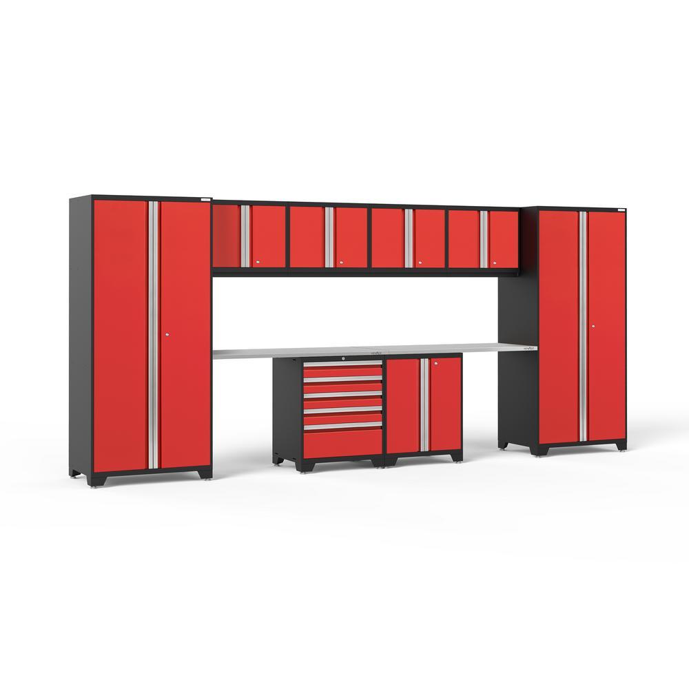 Pro 3.0 184 in. W x 83.25 in. H x 24 in. D 18-Gauge Welded Steel Stainless Steel Worktop Cabinet Set in Red (10-Piece)