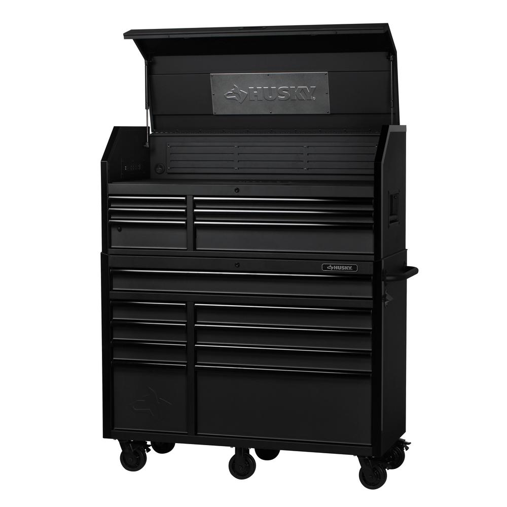 Husky Heavy-Duty 52 in. W 15-Drawer, Deep Combination Tool Chest and Rolling Cabinet Set in Matte Black