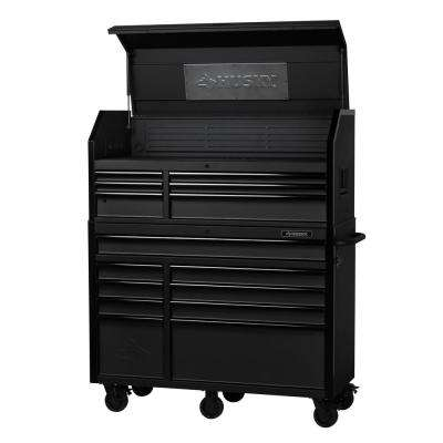 Industrial 52 in. W x 21.7 in. D 15-Drawer Tool Chest and Cabinet Combo in Textured Black