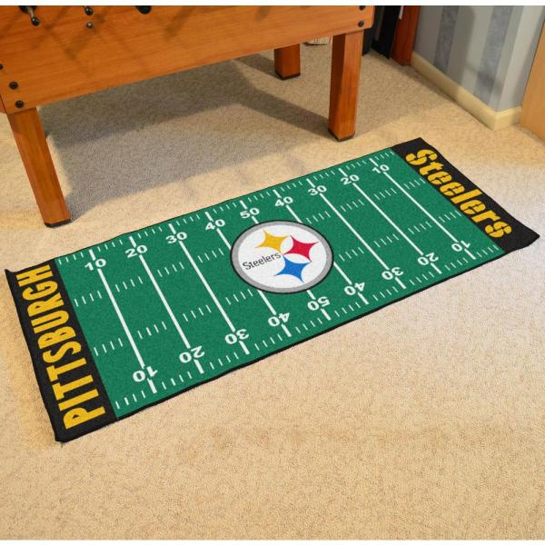 Fanmats Nfl Pittsburgh Steelers Green 3 Ft X 6 Ft Indoor Football Field Runner Rug 7311 The Home Depot