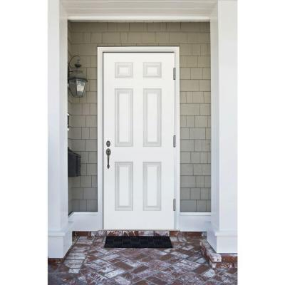 30 in. x 80 in. Premium 6-Panel White Primed Steel Prehung Front Door Left-Hand Outswing and 4 in. Wall
