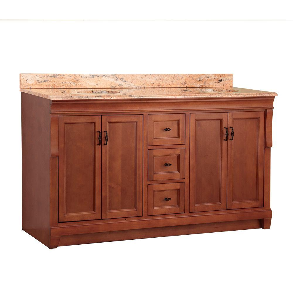 Foremost Naples 61 in. W x 22 in. D Double Sink Basin Vanity in Warm Cinnamon with Vanity Top in Bordeaux with Stone Effects