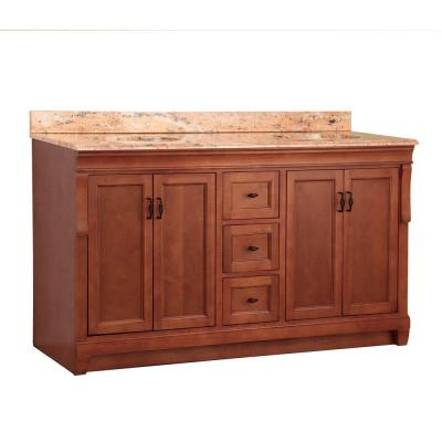 Naples 61 in. W x 22 in. D Double Sink Sink Vanity in Warm Cinnamon with Vanity Top in Bordeaux with Stone Effects