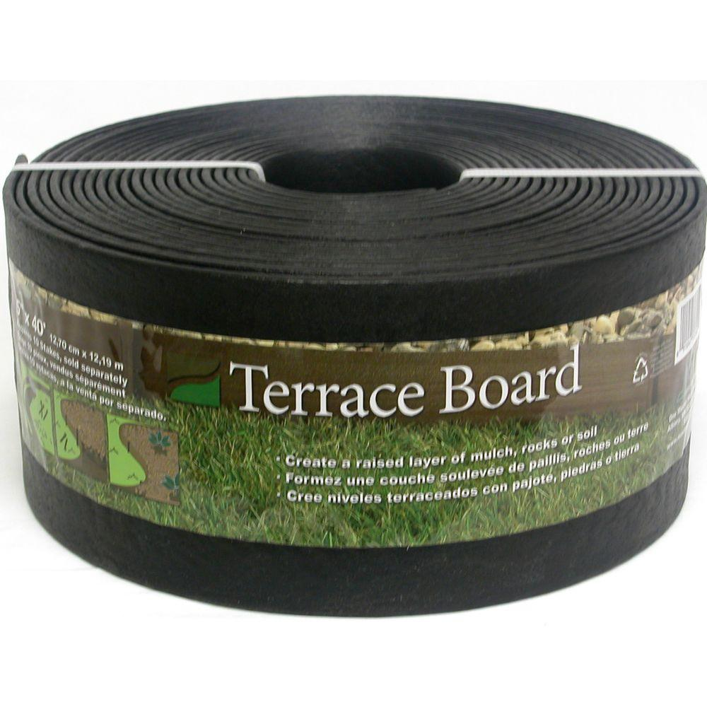Terrace Board 5 in. x 40 ft. Black Landscape Lawn Edging