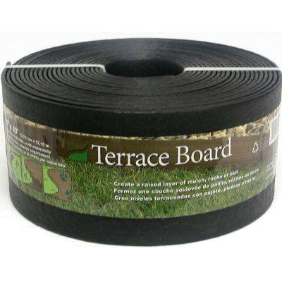 Terrace Board 5 in. x 40 ft. Black Landscape Lawn Edging with Stakes