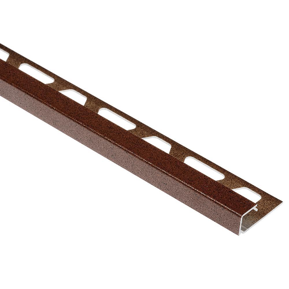 Quadec Rustic Brown Textured Color-Coated Aluminum 3/8 in. x 8 ft. 2-1/2 in. Metal Square Edge Tile Edging Trim