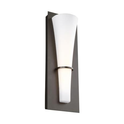 Barrington 5.25 in. W. 10-Watt Oil Rubbed Bronze Integrated LED Wall Sconce with Opal Etched Glass Shade