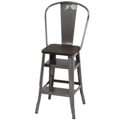 Luxor 24 in. Gun Metal Counter Stool with Steps
