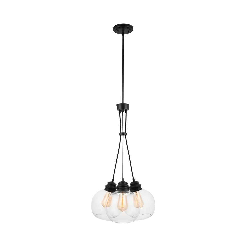 Home Decorators Collection 3-Light Aged Bronze Chandelier with Clear Glass Globes