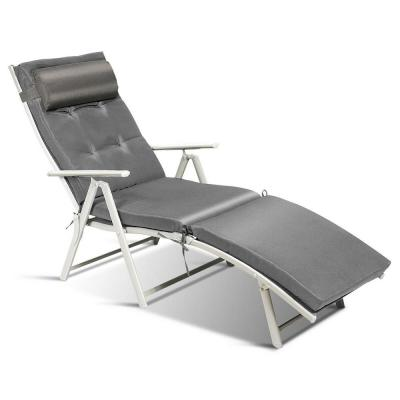 Adjustable Height Chaise Fabric Outdoor Lounge Chair with Gray Cushions