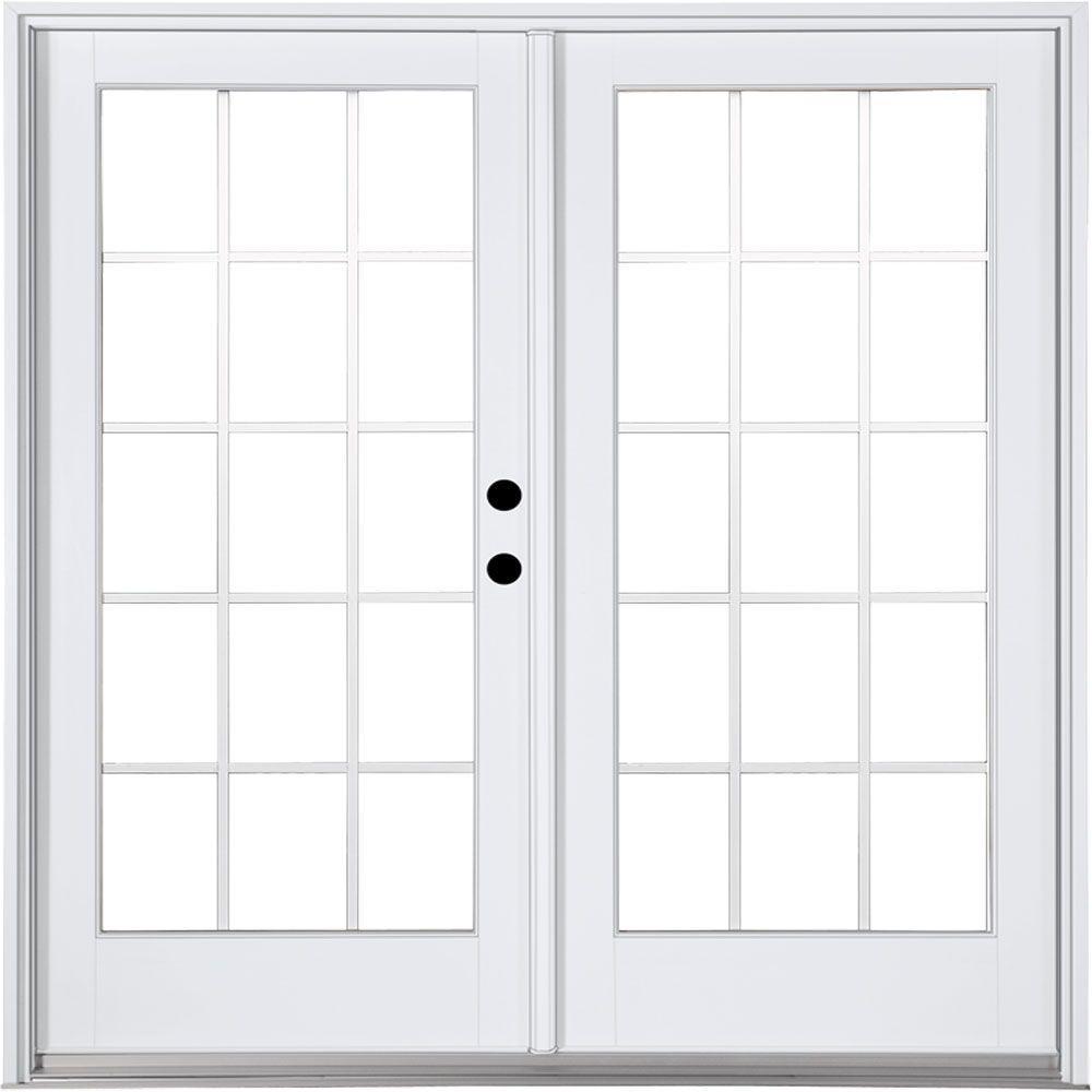 MP Doors 72 in. x 80 in. Fiberglass Smooth White Left-Hand Inswing Hinged Patio Door with 15-Lite GBG