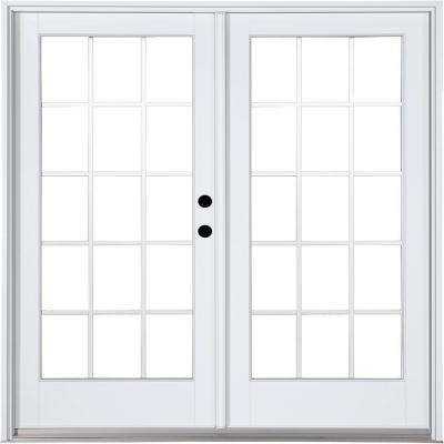 72 in. x 80 in. Fiberglass Smooth White Left-Hand Inswing Hinged Patio Door with 15-Lite GBG