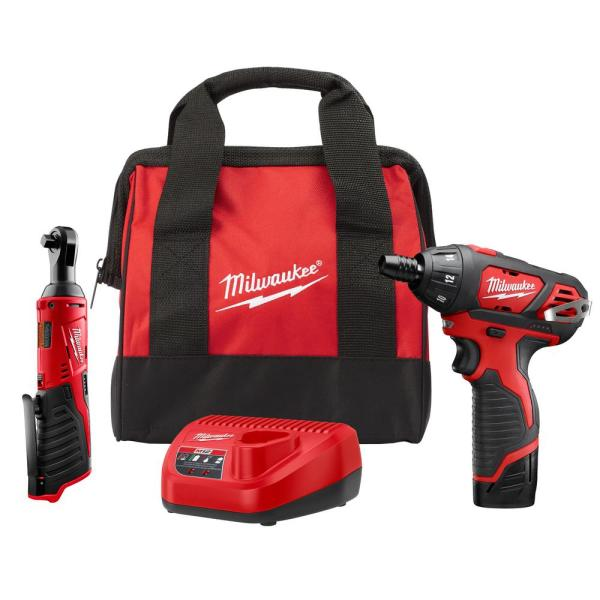 Milwaukee M12 12-Volt Lithium-Ion Cordless 3/8 in. Ratchet and Screwdriver Combo Kit (2-Tool) with Battery, Charger, Tool Bag