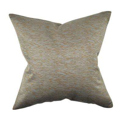Neutral Teal Zebra Print Jacquard Pillow Cover