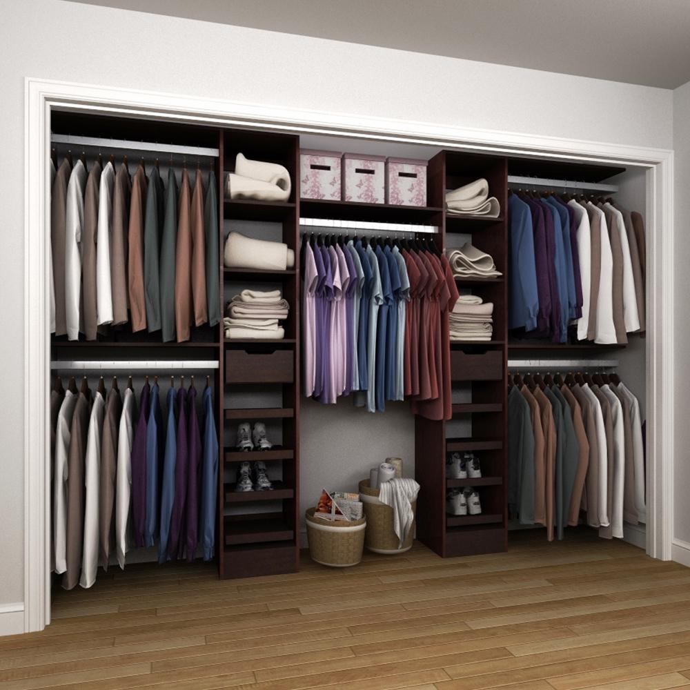 84 in. H x 75 in. to 165 in. W x 15 in. D Melamine Reach-In Closet Kit in Mocha