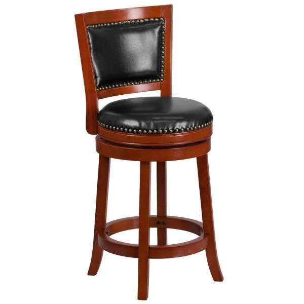 Flash Furniture 26.5 in. Black and Light Cherry Swivel Cushioned Bar