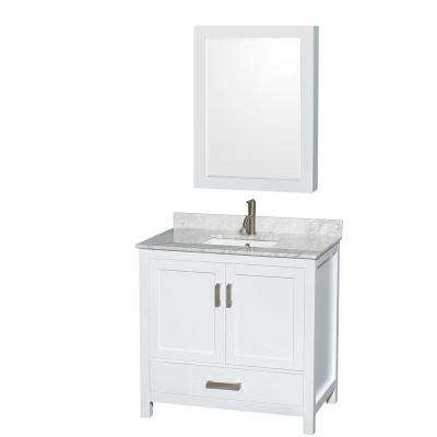 Sheffield 36 in. Vanity in White with Marble Vanity Top in Carrara White and Medicine Cabinet