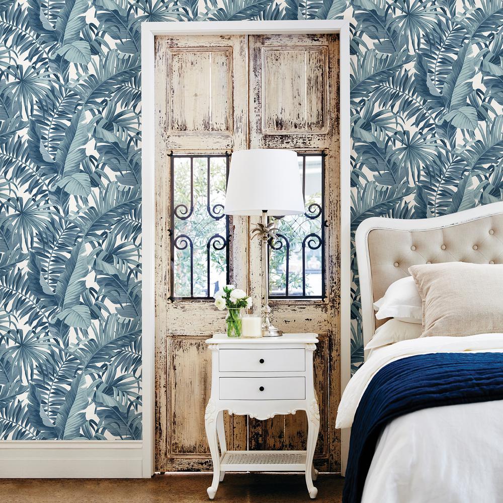 Navy blue wallpaper for walls - A Street Alfresco Navy Palm Leaf Wallpaper Sample