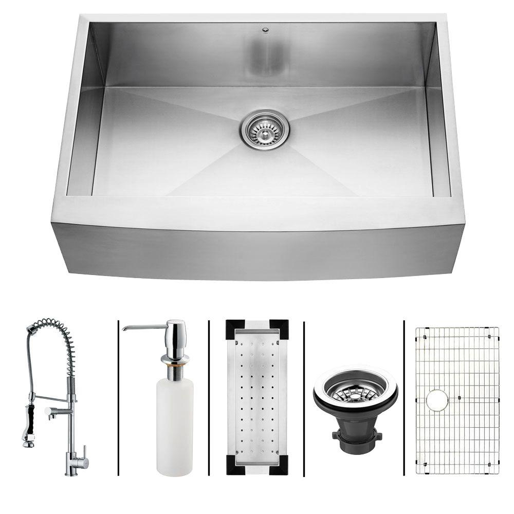 Vigo All-in-One Farmhouse Stainless Steel 33x22.25x10 0-Hole Single Basin Kitchen Sink-DISCONTINUED