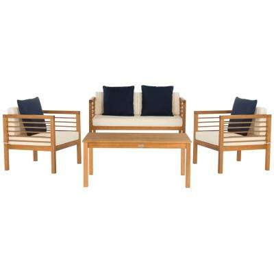 Alda Natural 4-Piece Wood Patio Conversation Set with White/Navy Cushions
