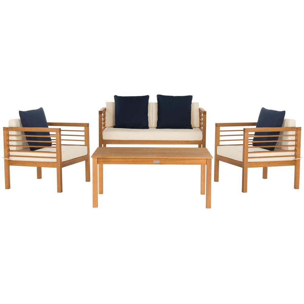 Safavieh Alda Natural Brown 4-Piece Wood Patio ... on Safavieh Alda 4Pc Outdoor Set id=38904