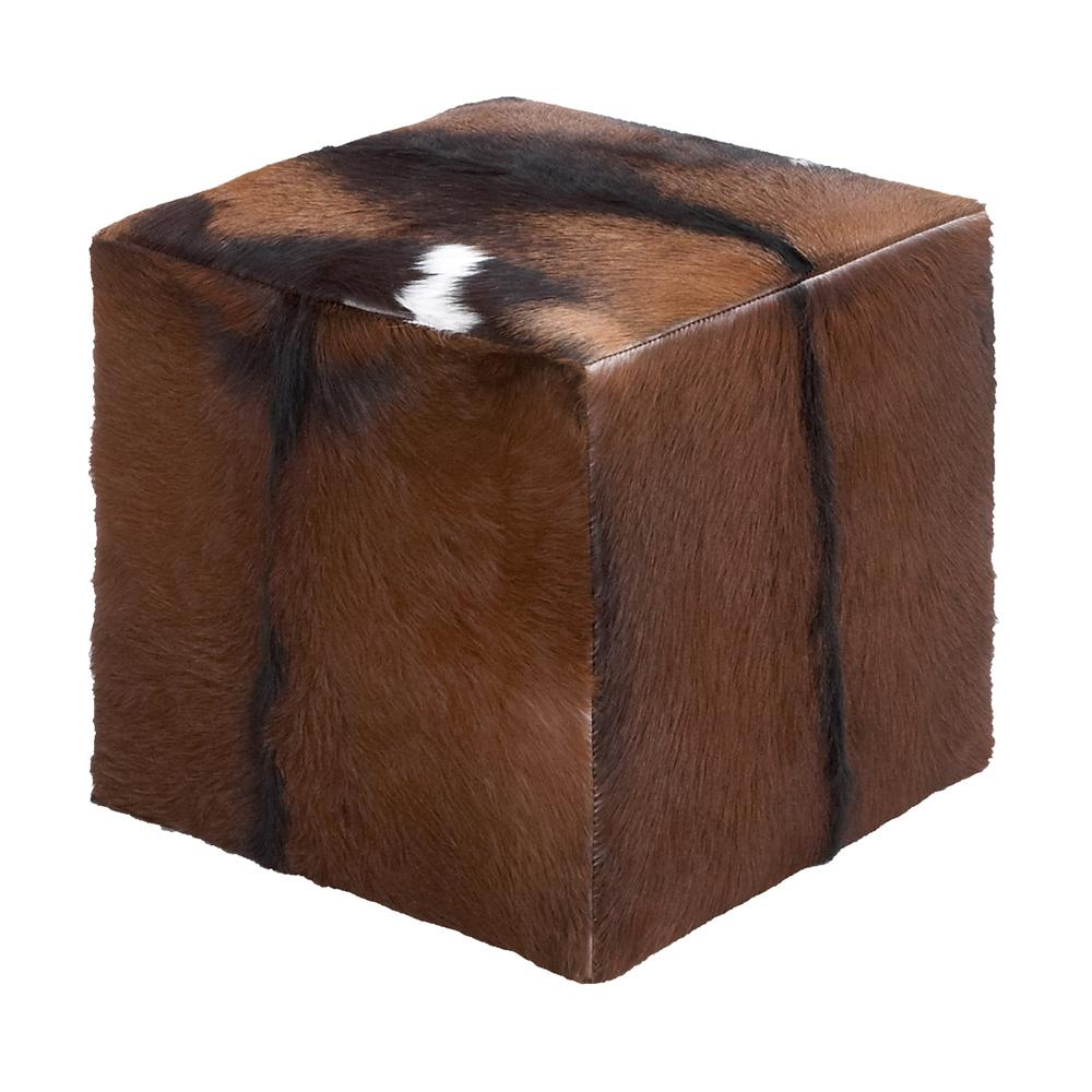 Litton Lane Goat Skin Covered Wooden Cube Stool 37749