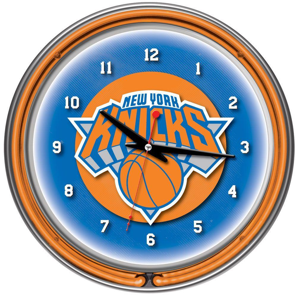 Trademark Global 14 in. New York Knicks NBA Chrome Double Ring Neon Wall Clock