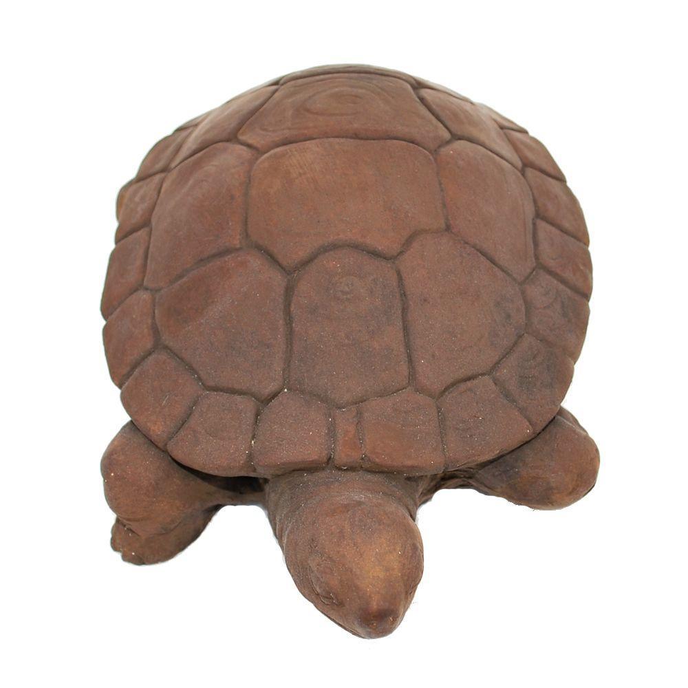 null Cast Stone Water Turtle Garden Statue Dark Walnut