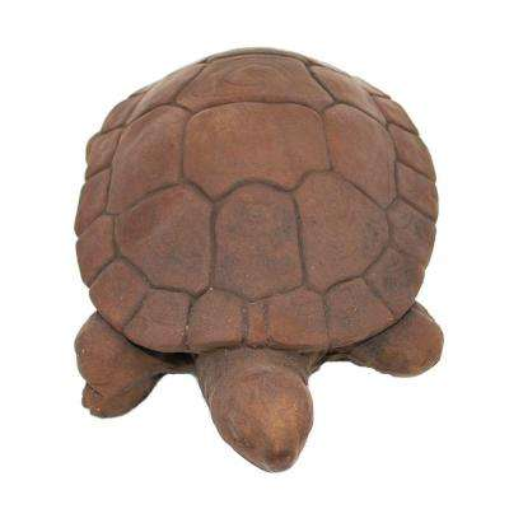 Cast Stone Water Turtle Garden Statue Dark Walnut