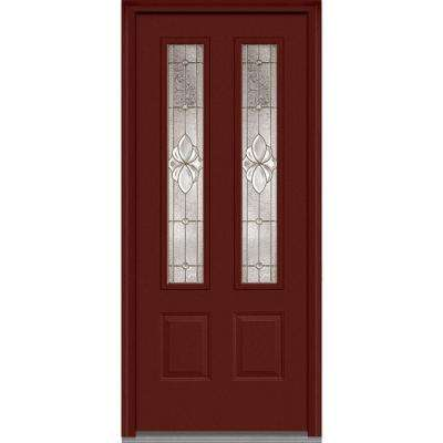 36 in. x 80 in. Heirloom Master Right-Hand Inswing 2-Lite Decorative Painted Fiberglass Smooth Prehung Front Door