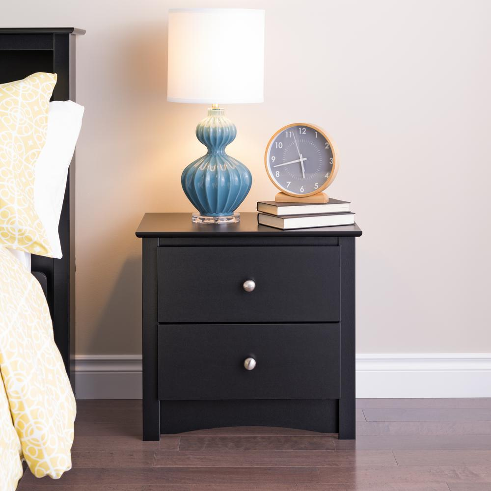 Prepac sonoma 2 drawer black nightstand