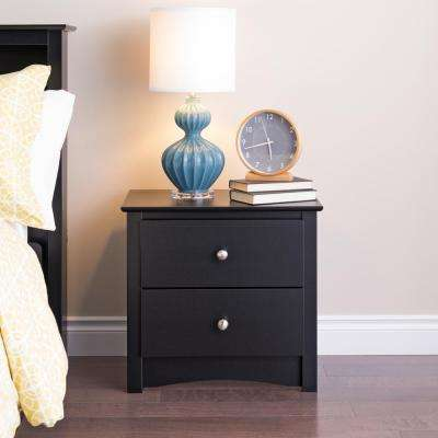 Sonoma 2-Drawer Black Nightstand