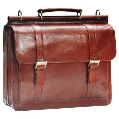 Luxurious Italian Brown Leather Briefcase for 16.5 in. Laptop