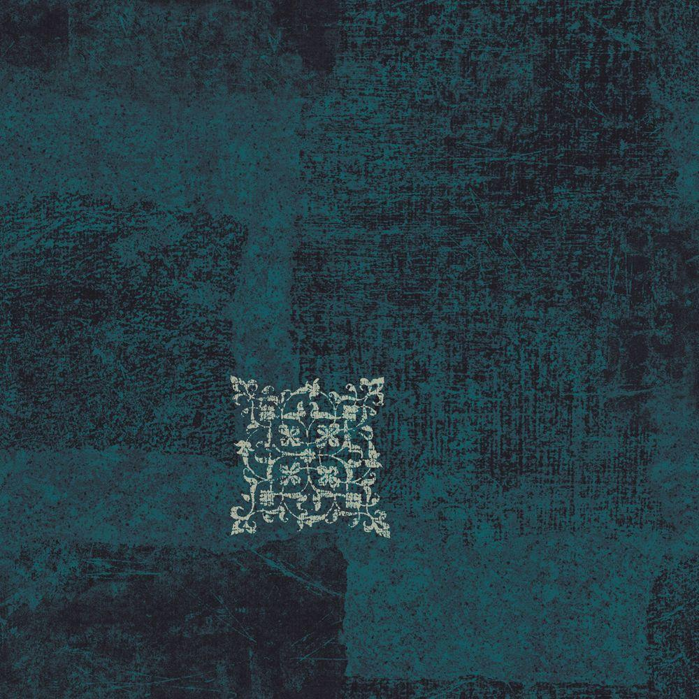 The Wallpaper Company 56 sq. ft. Blue Patchwork Scroll Wallpaper