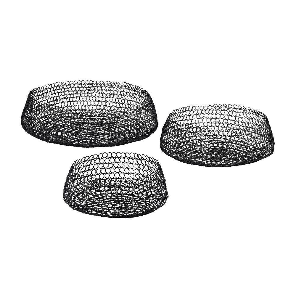 Welded Ring Decorative Bowls in Black (Set of 3)  sc 1 st  The Home Depot & Blacks - Decorative Plates \u0026 Bowls - Decorative Storage - The Home Depot