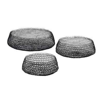 Welded Ring Decorative Bowls in Black (Set of 3)