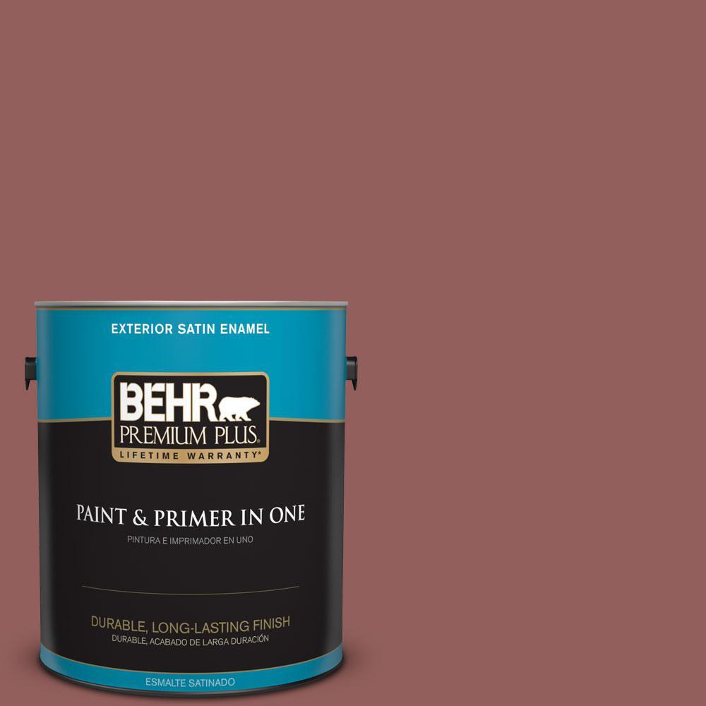 BEHR Premium Plus 1-gal. #ICC-73 Brick Hearth Satin Enamel Exterior Paint