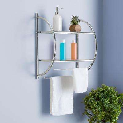 10 in. W Hanging Steel 2-Tier Shelf in Chrome
