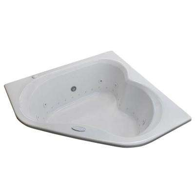 Beryl Diamond 5 ft. Acrylic Corner Drop-in Whirlpool Air Bathtub in White