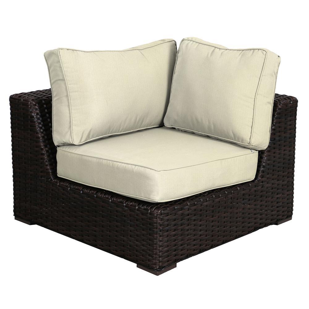 Santa Monica Patio Wicker Corner Outdoor Sectional Chair with Sunbrella Canvas Cushion