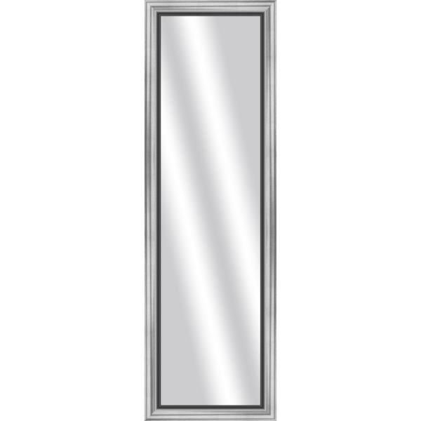 Large Rectangle Stainless Silver Art Deco Mirror (53 in. H x 17 in. W)